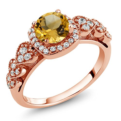 Citrine 18K Rose Gold Plated Silver Women's Ring (Size 7) ()