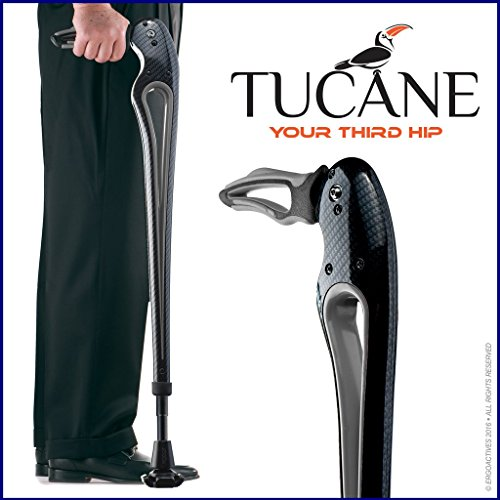 Tucane Lite 8X- Self-Propelled Advanced Walking Stick (8x lighter than old version) (Black/ Gray Tones) by Ergoactives