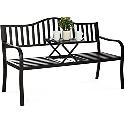 Best Choice Products Cast Iron Patio Garden Double Bench Seat w/Middle Table for Outdoor, Patio, Backyard - Black