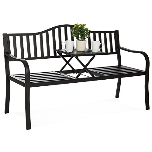 Best Choice Products Double Seat Cast Iron Patio Bench for Garden, Backyard w/Pullout Middle Table, Weather Resistant Steel Frame - Black