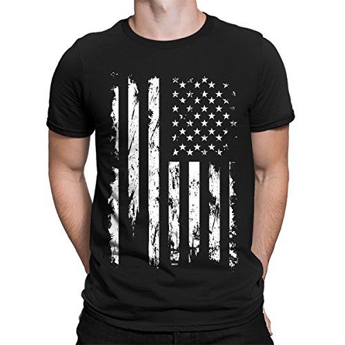 SpiritForged Apparel Distressed White USA Flag Men's T-Shirt, Black (American Flag Black T-shirt)