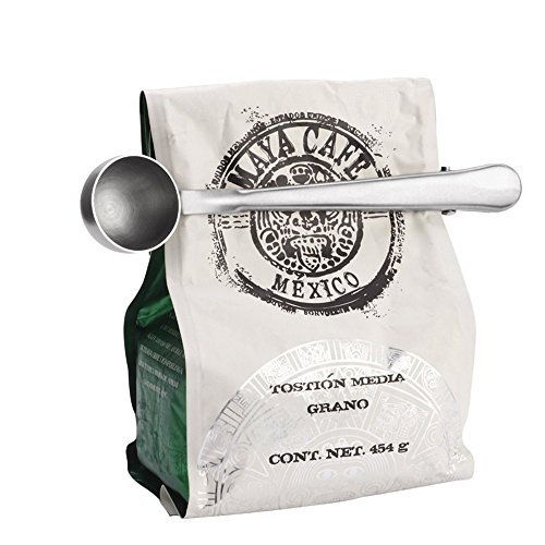 Toysdone Coffee Scoop, Stainless Steel Long Handled Tea Spoon with Bag Clip, Silver
