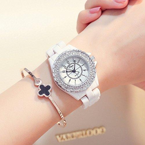 Women Gift Students Watch Quartz Watch Ceramic Watch Women Girls Fashionable White Diamond Ladies Watch Waterproof (d033 Black Number