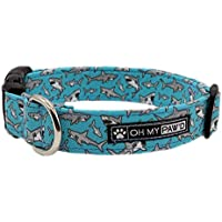 Shark Collar for Pets in Size Medium with Extra Width 1 Inch Wide and 14-20 Inches Long - Hand Made Dog Collar by Oh My Paw'd