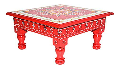 HNC00196 Designer Hand Painted Square Wooden Footstool Side Table 11 x 11 x 5.5 inch (Red) (Red) (Red)