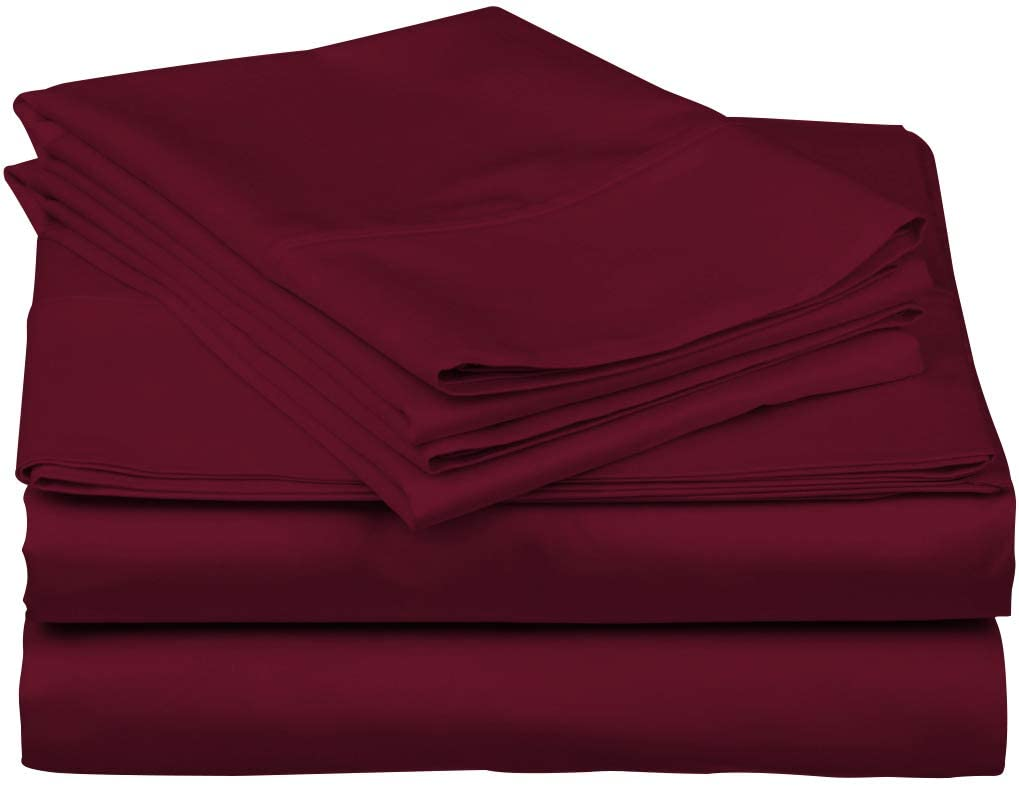 600-Thread-Count Best 100% Egyptian Cotton Sheets & Pillowcases Set - 4 Pc Burgundy Long-staple Combed Cotton Bedding Queen Sheet For Bed,Fits Mattress Upto 18'' Deep Pocket, Soft & Silky Sateen Weave