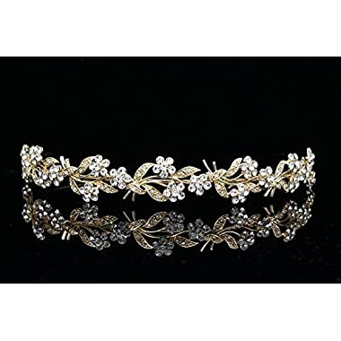 Flower Wreath Bridal Headband Tiara - Clear Crystals Gold Plating T675 by Venus Jewelry