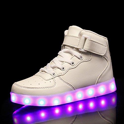KE Unisexo Niños Cima mas alta Carga USB Zapatos LED Ilumina los entrenadores Brillante Zapatillas deportivas Ata para arriba Zapatos White