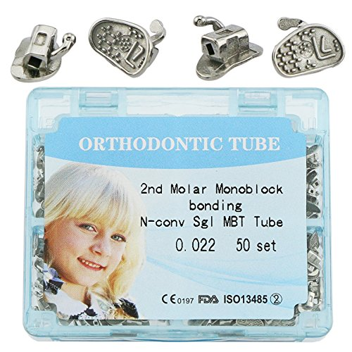 Dental Tubes MBT 0.022 the SECOND Molar Orthodontic Tubes Bonding non-convertible Monoblock Single Buccal tubes 50 Sets,200 Pieces(FDA PROVED)
