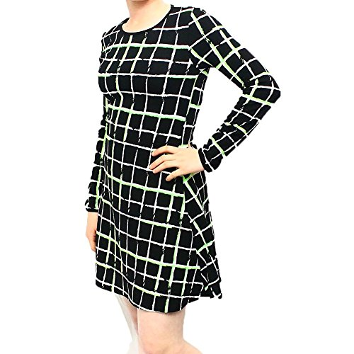 Black long sleeve swing dress with neon green squares