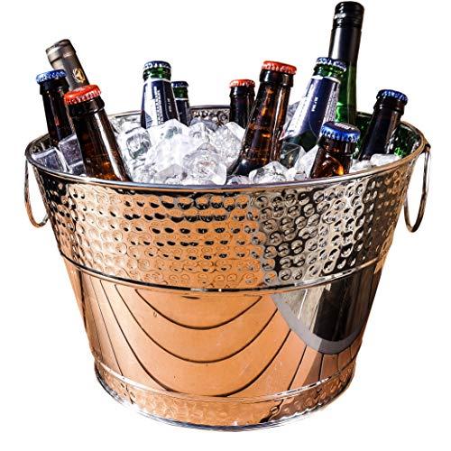 BREKX Hillcrest Stainless Steel Hammered Beverage Tub & Wine Bucket - 15 Quart - Silver ()