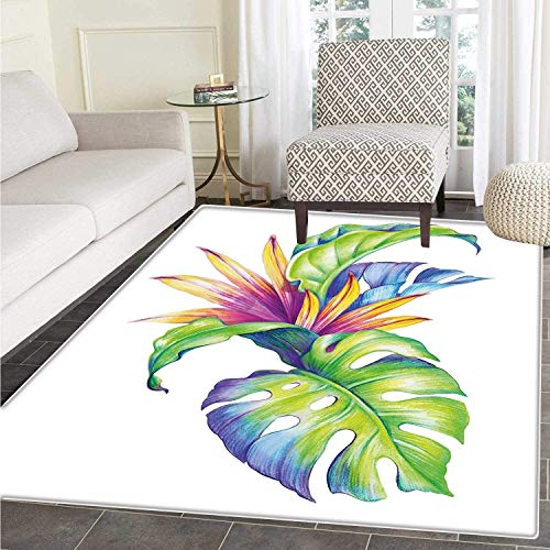 Plant Area Rug Tropical Leaves and Monstera with Abstract Color Scheme Hawaiian Floral Elements Floor Mat Rug Indoor/Front Door/Kitchen and Living Room/Bedroom Mats Rubber Carpe Non Slip