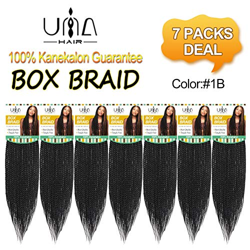 UNA 18Inches 7packs Box Braids Crochet Hair Extensions Synthetic Hair Crochet Braids Kanekalon Jumpo Braiding Hair (18inch,7pcs, 1B) ...