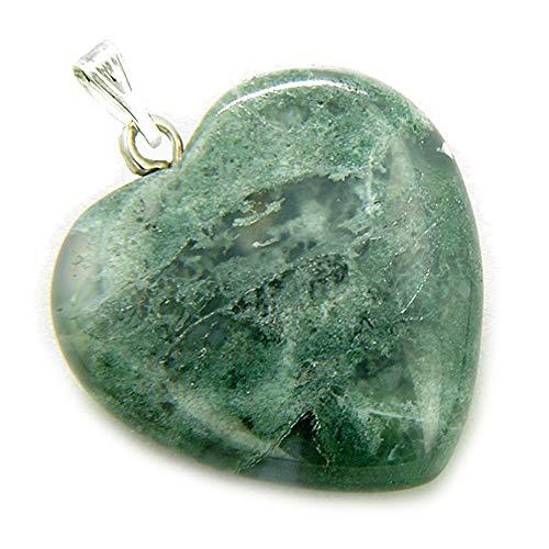 - BestAmulets A Lucky Puffy Moss Agate Gemstone Heart Good Luck Talisman Pendant
