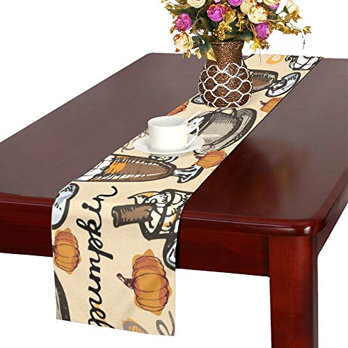 WHIOFE Coffee Doodle Hand Drawn Table Runner, Kitchen Dining Table Runner 16 X 72 Inch for Dinner Parties, Events, - Runner Latte Table Cafe