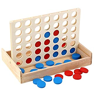 Younglingn Wooden 4 in a Row Game with Endless Joy Board Game Challenge Fun Classic Parties Toy and Brain Storm Linp Up 4 Game for Kids and Family