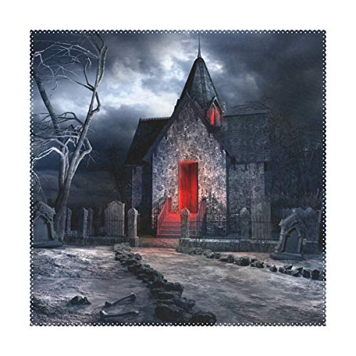 (My Little Nest Square Placemats Halloween Creepy Old Crypt Heat Resistant Table Mats Washable Place Mats for Festival Party Kitchen Dining Table 4)