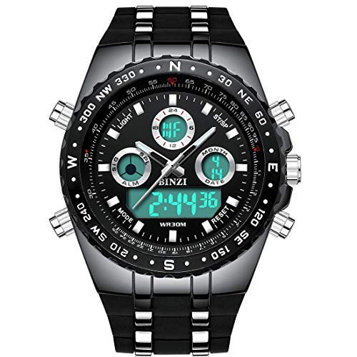 BINZI Big Face Sports Watch for Men, Waterproof Military Wrist Digital Watches in Black Silicone Band ()