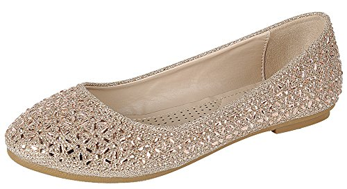 Cambridge Select Femme Fermé Orteil Rond Strass Cristal Glitter Slip-on Ballet Plat Rose Or