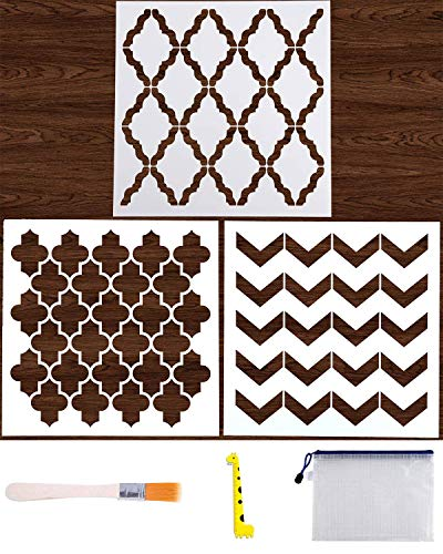 (3PCs Stencils Reusable 12x12 Inch Wall Template Stencil for Painting Wall/Floors/DIY Home Decor/Drawing Art with Art Brush/Storage Bag/Ruler)