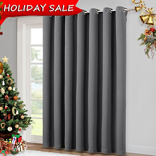 Patio Door Curtains Vertical Blinds- Wide Blackout Curtains, Slider Curtains Drapes, Grey Sliding Door Drapes by NICETOWN (Gray, 100