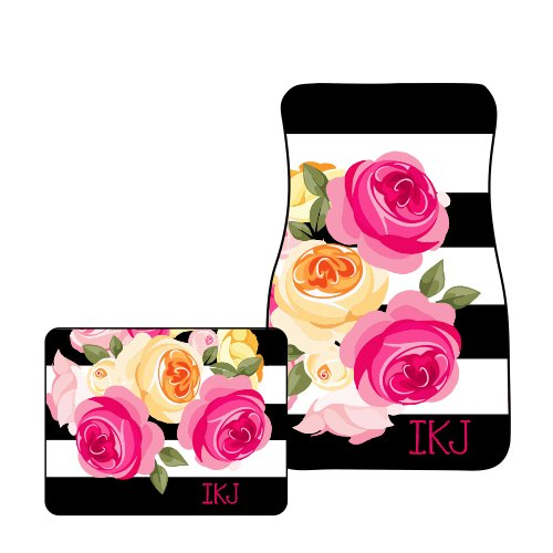 Monogram Car Mats (Tin Tree Gifts Customized Car Floor Mats Personalized Roses (Two Front ))
