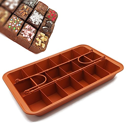 Non-stick Chocolate Brownie Pan with Dividers, 18-cavity Rectangle Bakeware with Removable Loose Bottom, Heavy-duty Built-In Slicer Brownie Tray - 12.20