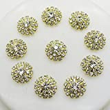 AngHui ShiPin 20pcs Gold Round Rhinestone Buckle Buttons Slider for Sew On Silver Plated Alloy Rhinestone Button Snap Flatback Crystal Button For Baby Hair Accessories