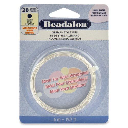 German Style Wire, Round, Silver Plated, 20 gauge, 6 -Meters