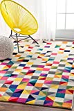 Modern Rug Colorful Multi Mosaic Design Rugs Living Room Childrens Bedroom Area Rugs Contemporary Rugs, Geometric Rugs (2′ 6″ x 8′ Runner)
