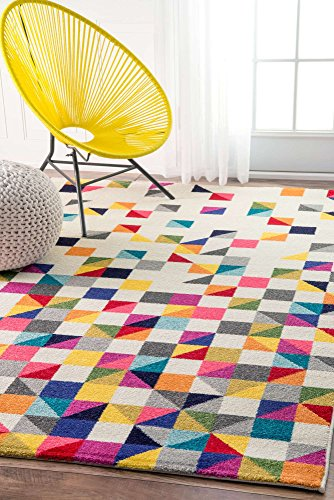 Modern Rug Colorful Multi Mosaic Design Rugs Living Room Childrens Bedroom 9×12 Area Rugs Contemporary Rugs, Geometric Rugs (9′ x 12′ Rectangle) Review