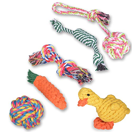 Oziral Dog Rope Toys [6 Pack] Puppy Braided Rope Toys Set Pet Dog Teeth Cleaning Gift Chew Durable Interactive Cotton Toys Dental Health for Small/Medium/Large Dog Playing ()
