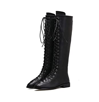 2bb827dac9d Knee High Boots Women Cross Straps Martin Boots Handsome Low Heel Knight  Boots Motorcycle Boots Dress