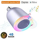 Bluetooth Light Bulb Speaker, Dimmable LED Multicolored Changing Party Music Lights Bulb, E26 5W White and 5W RGB with 3W speaker Remote controlled by iOS or Android App -Wefunix BS-06
