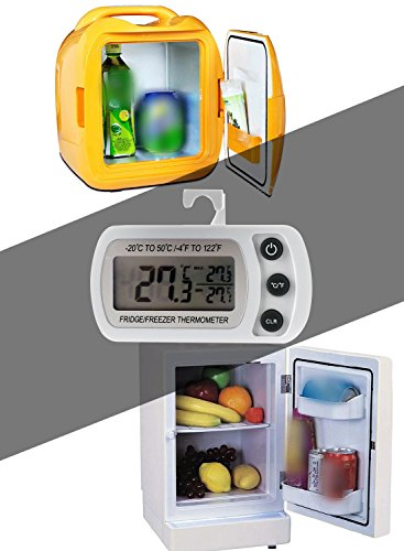 Refrigerator Fridge Thermometer Digital Freezer Room Thermometer Waterproof, Max/Min Record Function with Large LCD Display (2 Pack of White)