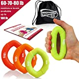 Hand Strengthener Grip Rings 10-100lb MULTIPLE RESISTANCE LEVELS – Forearm Grip Strength – Quickly Increase Your Hand Strength – Finger Exerciser – Best Hand Exerciser Grip (60-80lb (yellow))
