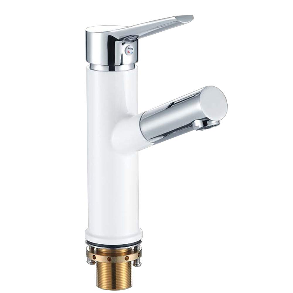 YJZ Pull Out Faucet Single Handle Brass Water Tap White Paint With Chrome Finished For Kitchen Bathroom Sink Lavatory Basin