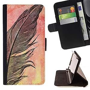 BLACK WATERCOLOR NATURE FEATHER CROW/ Personalizada del estilo del dise???¡Ào de la PU Caso de encargo del cuero del tir????n del soporte d - Cao - For Apple Iphone 6