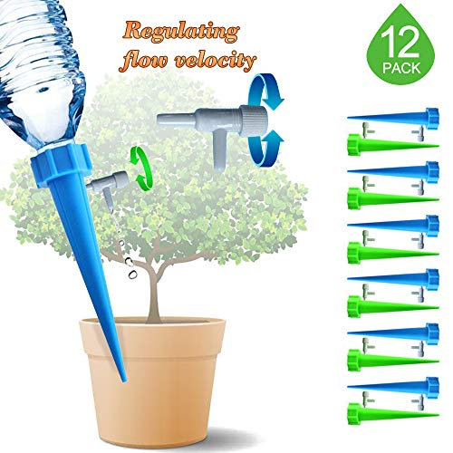 Plant Waterer Self Watering Spikes, Automatic Vacation Plant Waterer Nannies devices with Slow Release Control valve switch, Automatic Drip Irrigation Watering Bulbs Globes Stakes System -12 Pack