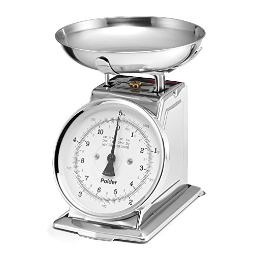 Polder 985-75 Professional Stainless Steel Analog Kitchen Scale, 11-Pound (5 kg.) Capacity