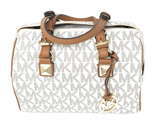 Michael Kors Grayson Medium Chain Satchel Signature (Vanilla/Acorn) by Michael Kors