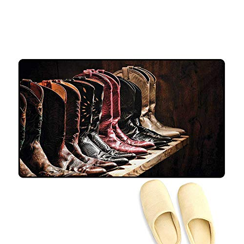 (Door Mats,Photograph of Various Type of Rodeo Fancy Cowgirl Leather Boots Collection Image Art,Bath Mats for Bathroom,Brown,16