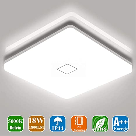 Airand Flash Mount Ceiling Light,24W 2050lm Waterproof Square LED Ceiling Light Fixture for Bedroom Bathroom Kitchen Living Room Hallway,5000K Cold White Upgrade Version