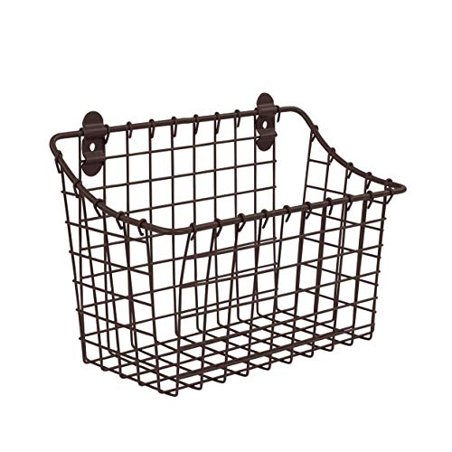 (Spectrum Diversified Vintage Wall Mount Storage Basket, Large, Bronze)