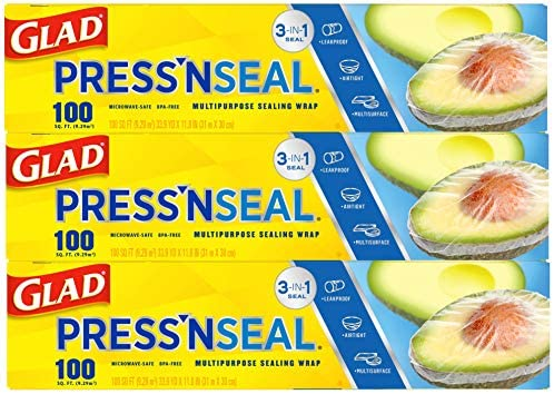 Glad Press'n Seal Plastic Food Wrap - 100 Square Foot Roll (Pack of three) (Package May Vary)
