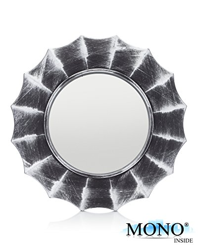 """MONOINSIDE Small Framed Round Circle Wall Mount Mirror, Starburst Plastic Frame with Distressed Silver Finish, Retro Design, 9.75"""" in - Small Mirrors Silver"""