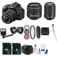 Nikon D5200 24.1 MP CMOS Digital SLR with 18-55mm f/3.5-5.6 AF-S DX VR Lens (Black) - International Version (No Warranty) + Nikon 55-200mm f/4-5.6G ED IF AF-S DX VR Zoom-Nikkor Lens + 16GB SDHC Class 10 Memory Card + 8GB SDHC Class 10 Memory Card + 52mm Wide Angle Lens + 52mm 2.2x Telephoto Lens + 52mm 3 Piece Filter Kit + 52mm UV Filter + Full Size Tripod + External Flash + Digital Carrying Case + SDHC Card USB Reader + 6pc Starter Kit + Memory Card Wallet + Lens Cap Keeper + Bonus Nikon DVD! Bundle Key Pieces Review Image