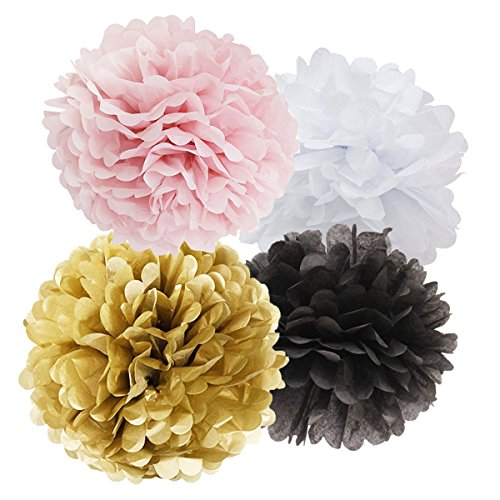 16pcs Tissue Paper Pom Pom White Pink Gold Black Paper Flower Ball Decoration Tissue Ball Paper Decoration for Baby Shower Parisian, French, Paris, Pink, Pink and Black Birthday Party (Paris Party Decorations)