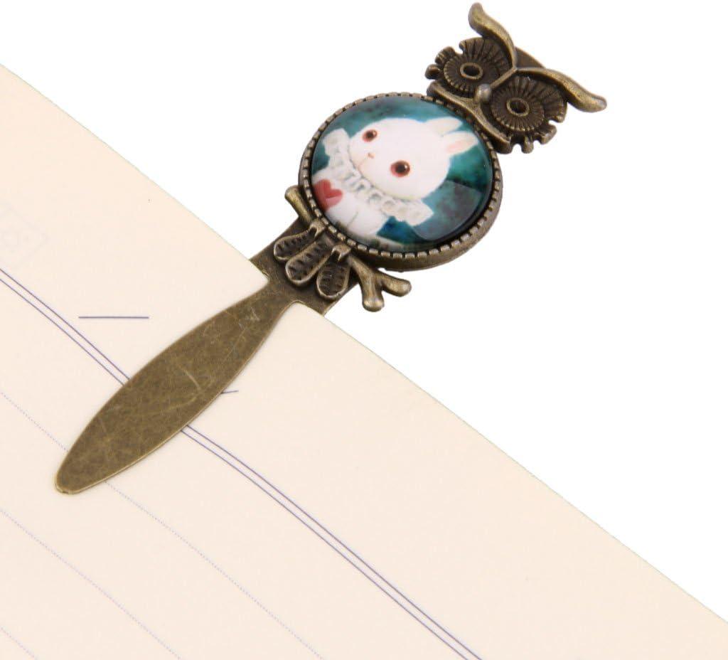 Marque Page Clip en M/étal Signet R/étro Antique Motif Lapin Blanc