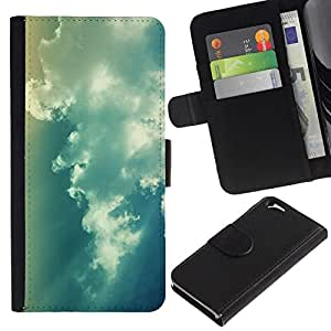 NEECELL GIFT forCITY // Billetera de cuero Caso Cubierta de protección Carcasa / Leather Wallet Case for Apple Iphone 6 // Blue Sky Clouds